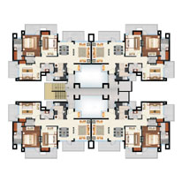 Cluster Plan - Tower D, E, F & G - 3BHK ( 1685 sq.ft. )