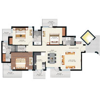 Floor Plan - Tower A, B & C - 3BHK (1825 sq.ft.)