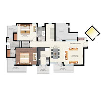 Floor Plan - Tower A, B & C - Duplex Pent House ( 1910 sq.ft. Terrace extra )