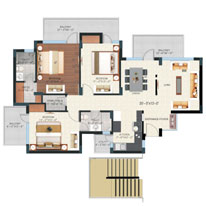 Floor Plan - Tower D, E, F & G - 3BHK ( 1685 sq.ft. )