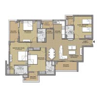 3 BHK Typical Unit Plan Super Area =1885sq.ft.