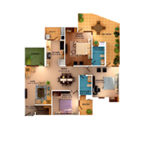 3 BHK with SKY Deck unit plan - 1590 Sq. Ft.