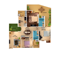 3 BHK with SKY Deck unit plan - 1485 Sq. Ft.