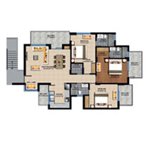 3 BHK unit plan - 1860 Sq. Ft.