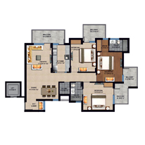 3 BHK Unit plan - 1690 Sq. Ft.