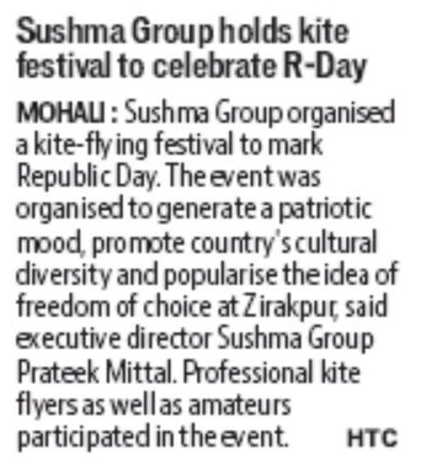 SUSHMA GROUP HOLDS KITE FESTIVAL TO CELEBRATE R-DAY